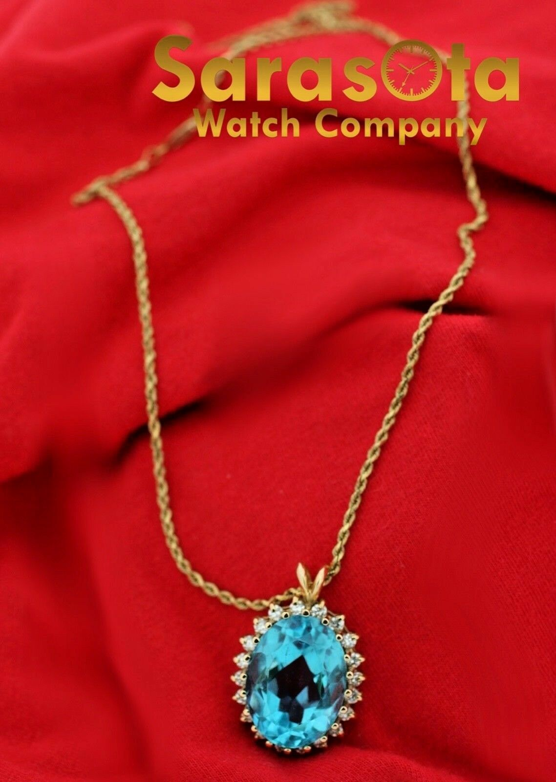 14k Yellow Gold Oval Halo Blue Topaz Diamonds Pendant Rope Chain 18 Necklace 132865254772 2