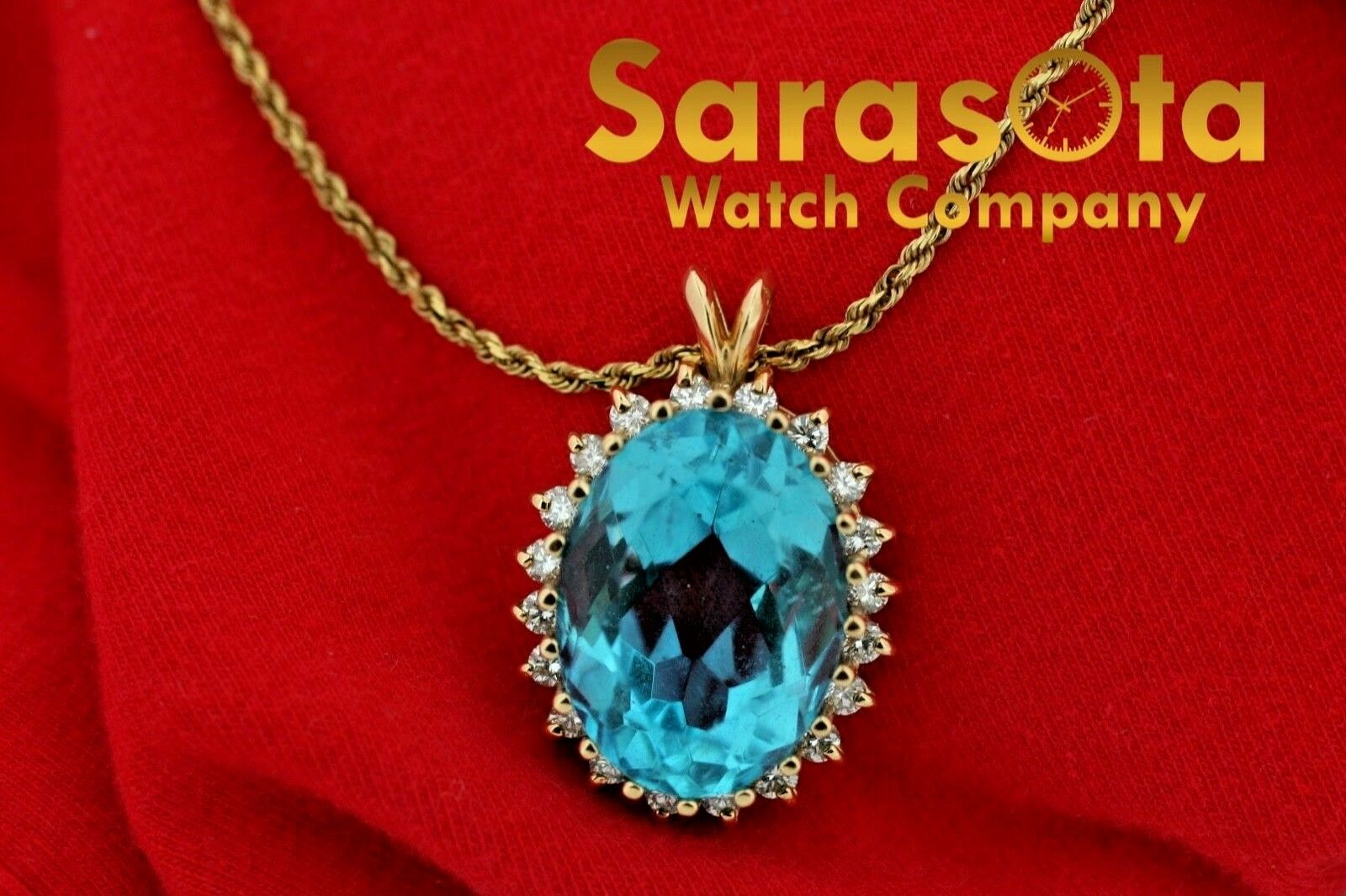 14k Yellow Gold Oval Halo Blue Topaz Diamonds Pendant Rope Chain 18 Necklace 132865254772 3