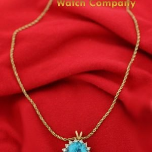 14k Yellow Gold Oval Halo Blue Topaz Diamonds Pendant Rope Chain 18 Necklace 132865254772