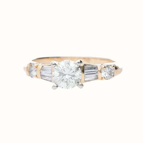 14k Yellow Gold Round 115 tcw Womens Diamond Engagement Ring Size 55 124083726602 2