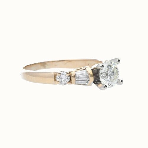 14k Yellow Gold Round 115 tcw Womens Diamond Engagement Ring Size 55 124083726602 4