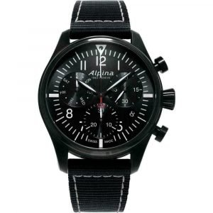 Alpina Startimer Pilot Chronograph AL 371BB4FBS6 Black PVD Quartz Mens Watch 133311984492