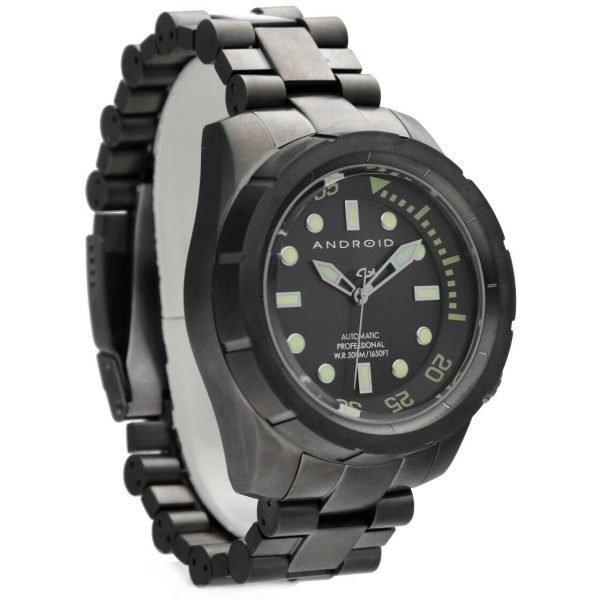 Android AD563 Professional 50mm Black PVD Steel 500M Diver Automatic Mens Watch 133594489282 5