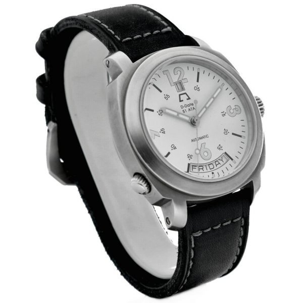 Anonimo D Date 51ETA 2006 Day Date Ivory Dial Leather 43mm Automatic Mens Watch 114412345712 3