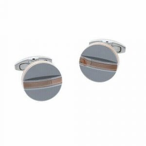 Aston Martin AM 031A Stainless Steel Rose Gold Accent Round Mens Cufflinks 114177464942