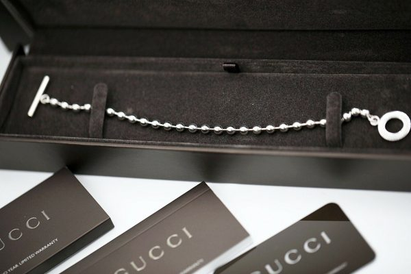 Authentic GUCCI Sterling Silver 925 Ball Chain 21 Size Womens Bracelet 85 114586124172 2