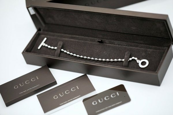 Authentic GUCCI Sterling Silver 925 Ball Chain 21 Size Womens Bracelet 85 114586124172