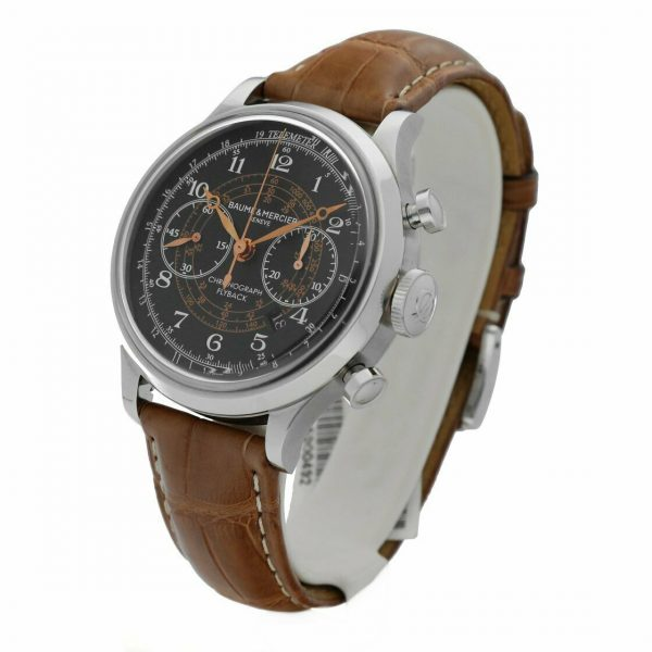 Baume Mercier Capeland M0A10068 Flyback Chronograph Brown Leather Mens Watch 133467859202 2
