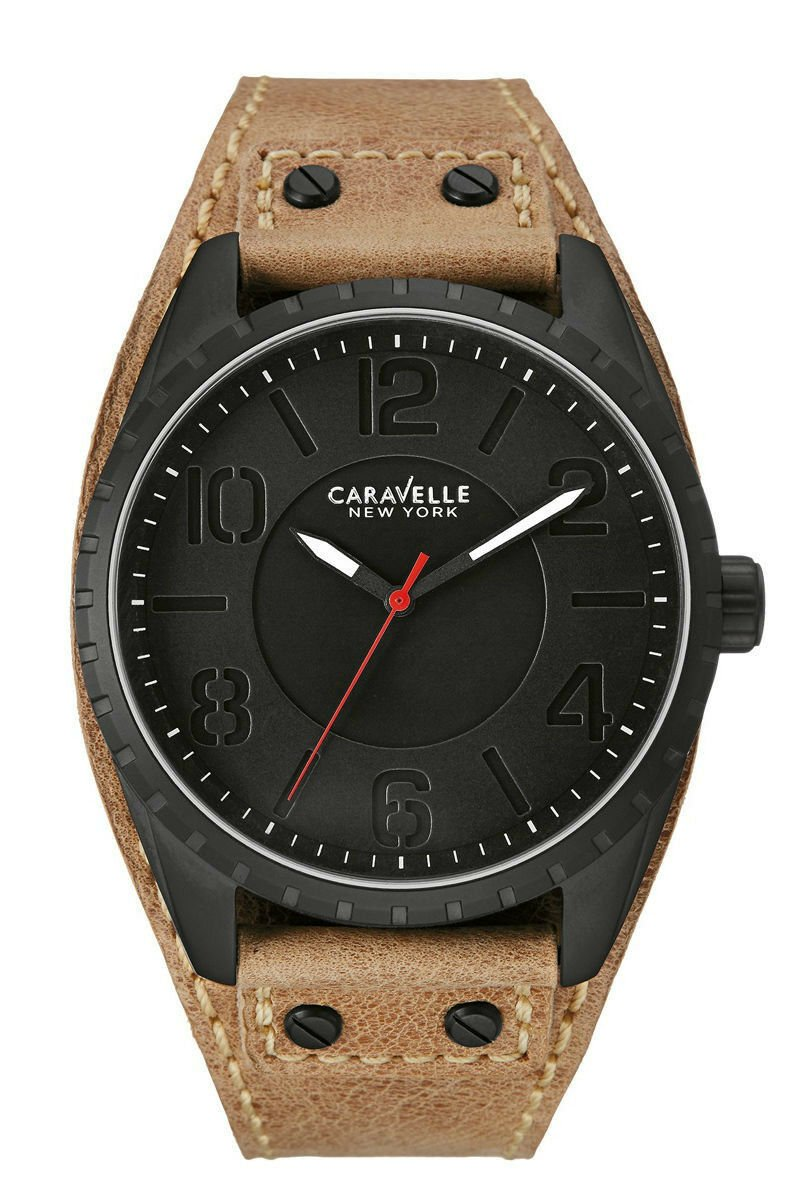 Caravelle New York 45B124 Brown Leather Black Dial Stainless Steel Mens Watch 131864154692