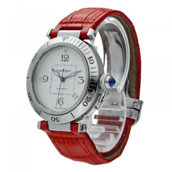 Cartier Pasha 2379 Stainless Steel 38mm Red Leather Swiss Automatic Wrist Watch 124434110752 2