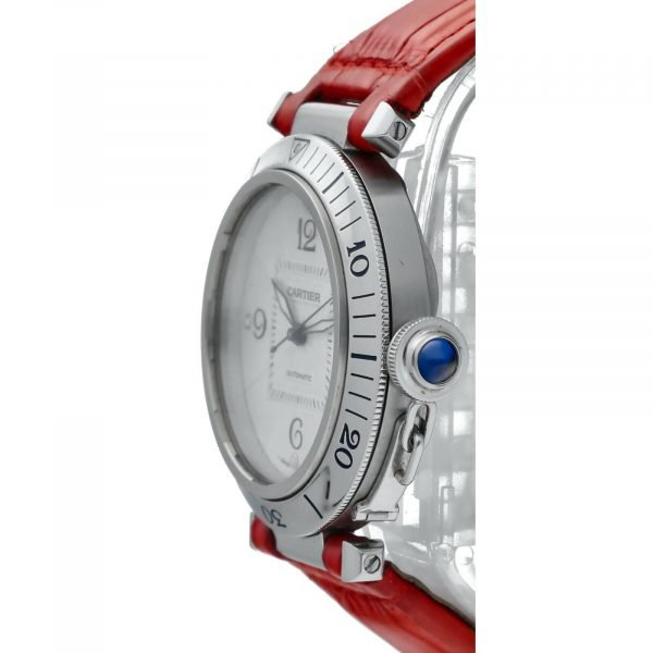 Cartier Pasha 2379 Stainless Steel 38mm Red Leather Swiss Automatic Wrist Watch 124434110752 3