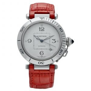 Cartier Pasha 2379 Stainless Steel 38mm Red Leather Swiss Automatic Wrist Watch 124434110752