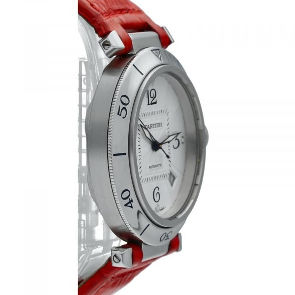 Cartier Pasha 2379 Stainless Steel 38mm Red Leather Swiss Automatic Wrist Watch 124434110752 4