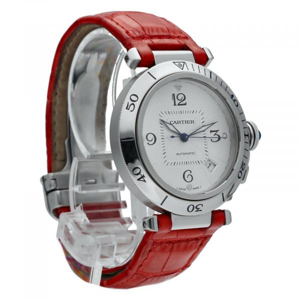 Cartier Pasha 2379 Stainless Steel 38mm Red Leather Swiss Automatic Wrist Watch 124434110752 5