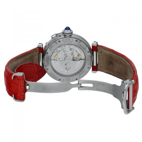 Cartier Pasha 2379 Stainless Steel 38mm Red Leather Swiss Automatic Wrist Watch 124434110752 7