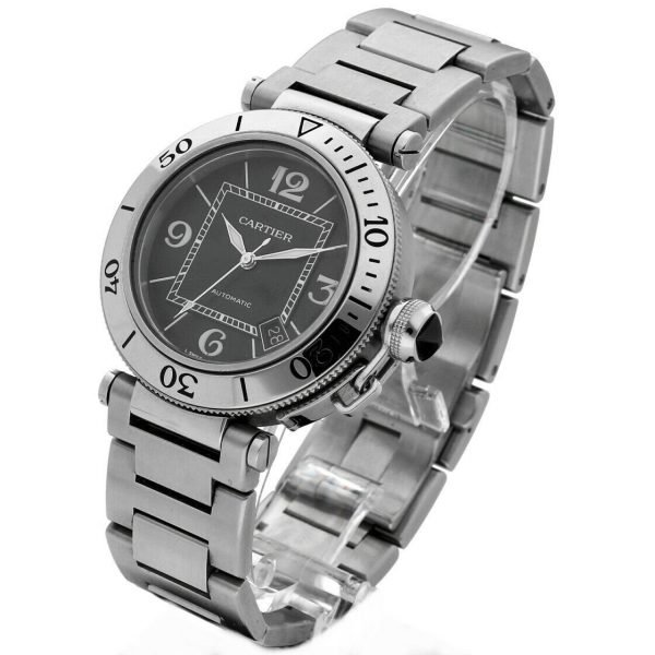 Cartier Pasha Seatimer 2790 Black Dial Stainless Steel Automatic Mens Watch 133626331492 2