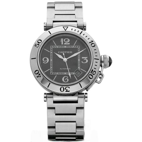 Cartier Pasha Seatimer 2790 Black Dial Stainless Steel Automatic Mens Watch 133626331492