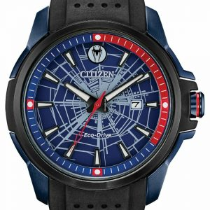 Citizen Eco Drive AW1156 01W Spider Man Marvel Black Rubber Solar Mens Watch 124430733742