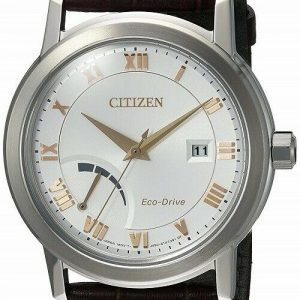 Citizen Eco Drive AW7020 00A Brown Leather Steel Power Reserve Mens Watch 112101713212