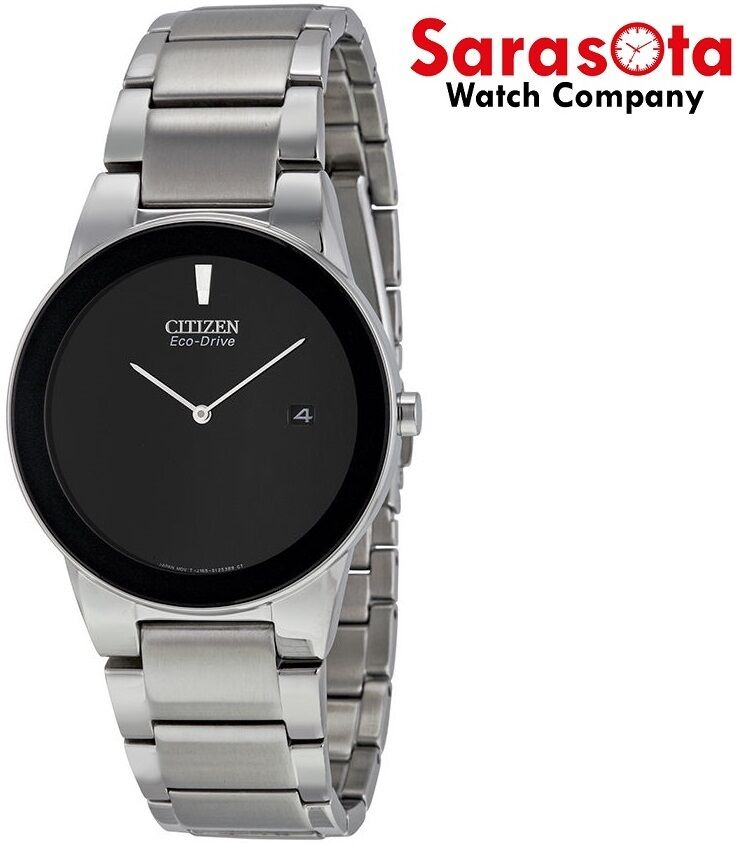 Citizen Eco Drive Axiom AU1060 51E Black Dial Stainless Steel Dress Mens Watch 122283156242 2