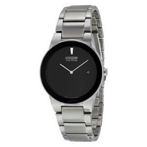 Citizen Eco Drive Axiom AU1060 51E Black Dial Stainless Steel Dress Mens Watch 122283156242