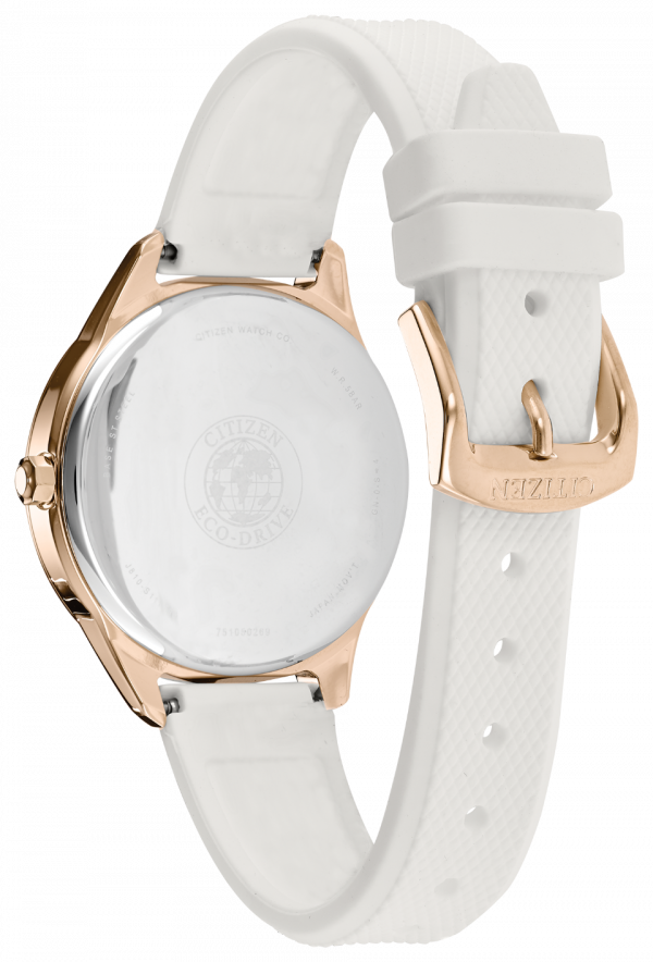 Citizen Eco Drive FE6103 00A Chandler Gold Steel White Rubber Solar Womens Watch 114507237612 2
