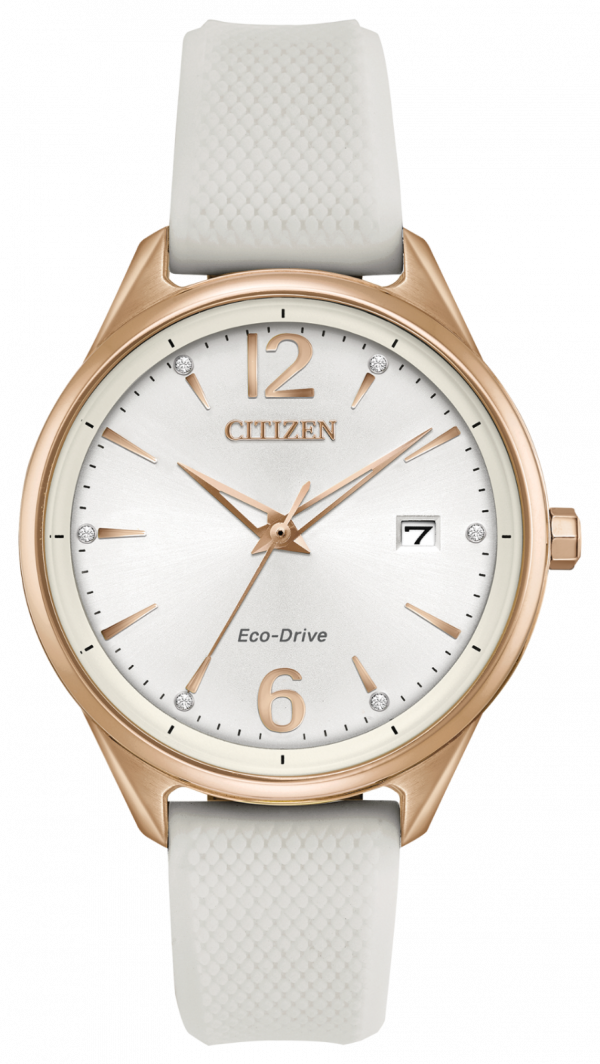 Citizen Eco Drive FE6103 00A Chandler Gold Steel White Rubber Solar Womens Watch 114507237612