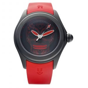Corum Bubble 47 082310980376 Skull Black PVD Red Rubber Mens Watch 114605290572
