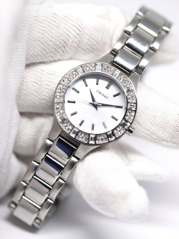 DKNY NY 8485 MOP Dial Stainless Steel 30mm Crystal Accent Quartz Womens Watch 123717640412 3