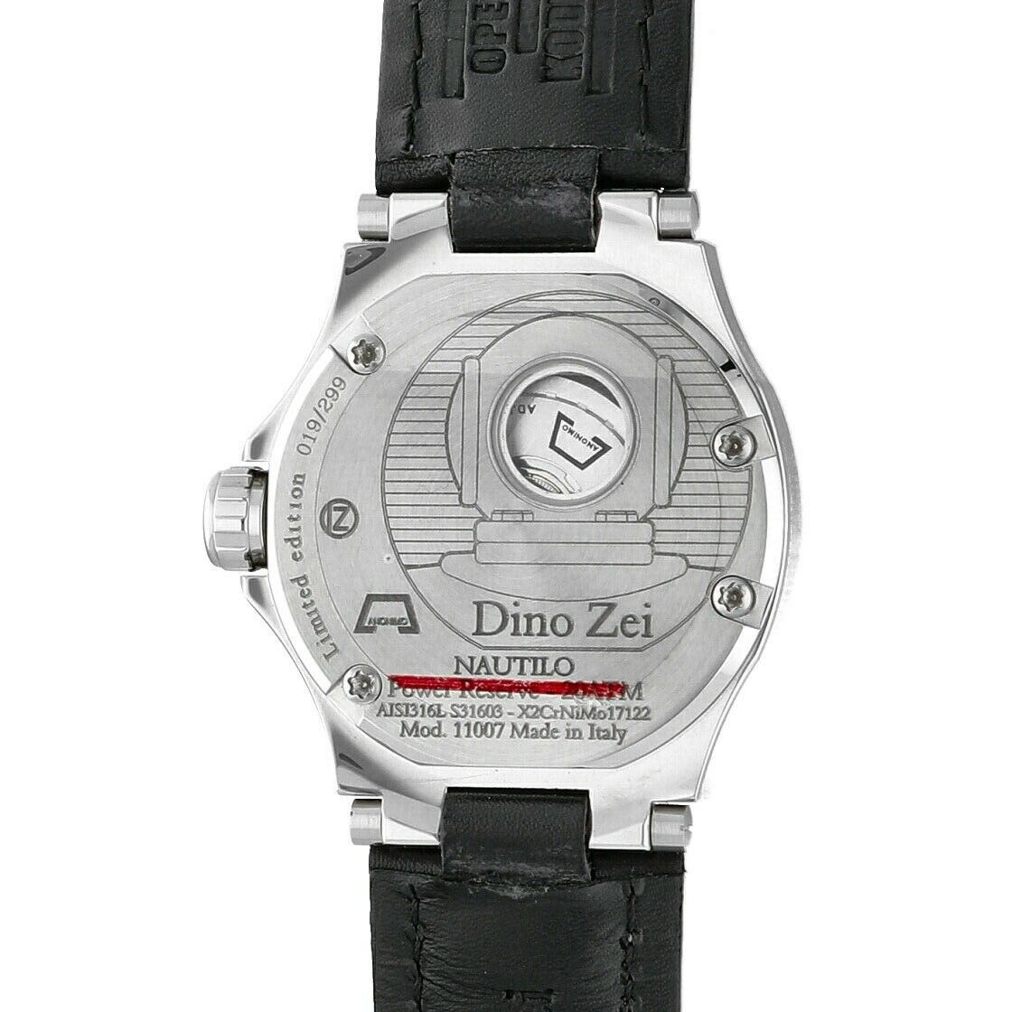 Dino Zei Nautilo Limited Edition 11007 Steel 455 Leather Automatic Mens Watch 114270758432 8