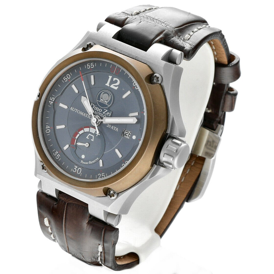 Dino Zei Nautilo Limited Edition 11007 Steel Leather Automatic Mens Watch 124232242502 2