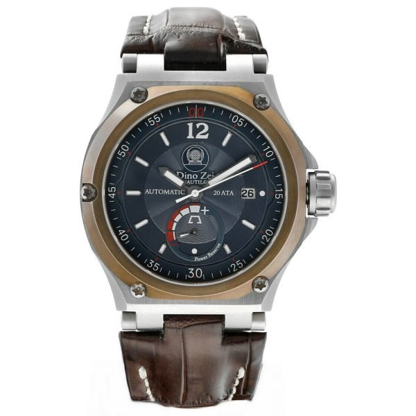 Dino Zei Nautilo Limited Edition 11007 Steel Leather Automatic Mens Watch 124232242502
