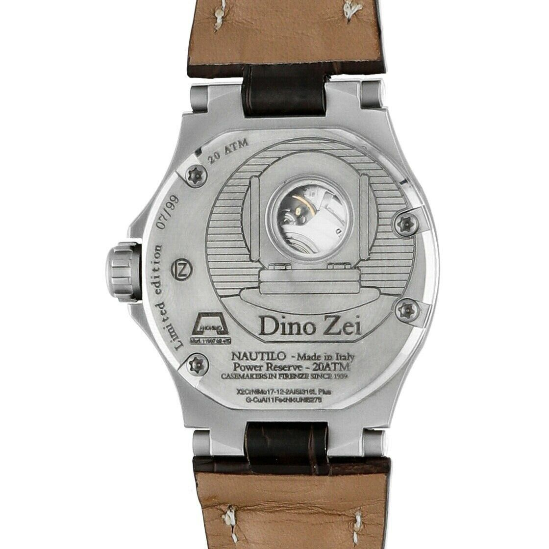 Dino Zei Nautilo Limited Edition 11007 Steel Leather Automatic Mens Watch 124232242502 9