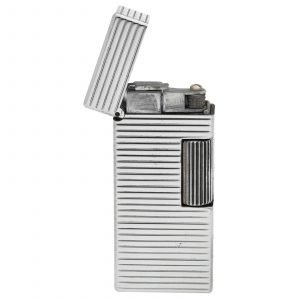 Dunhill Rhodium Plated Stripped 93 x 2 Mens Lighter Gift England 133578405582