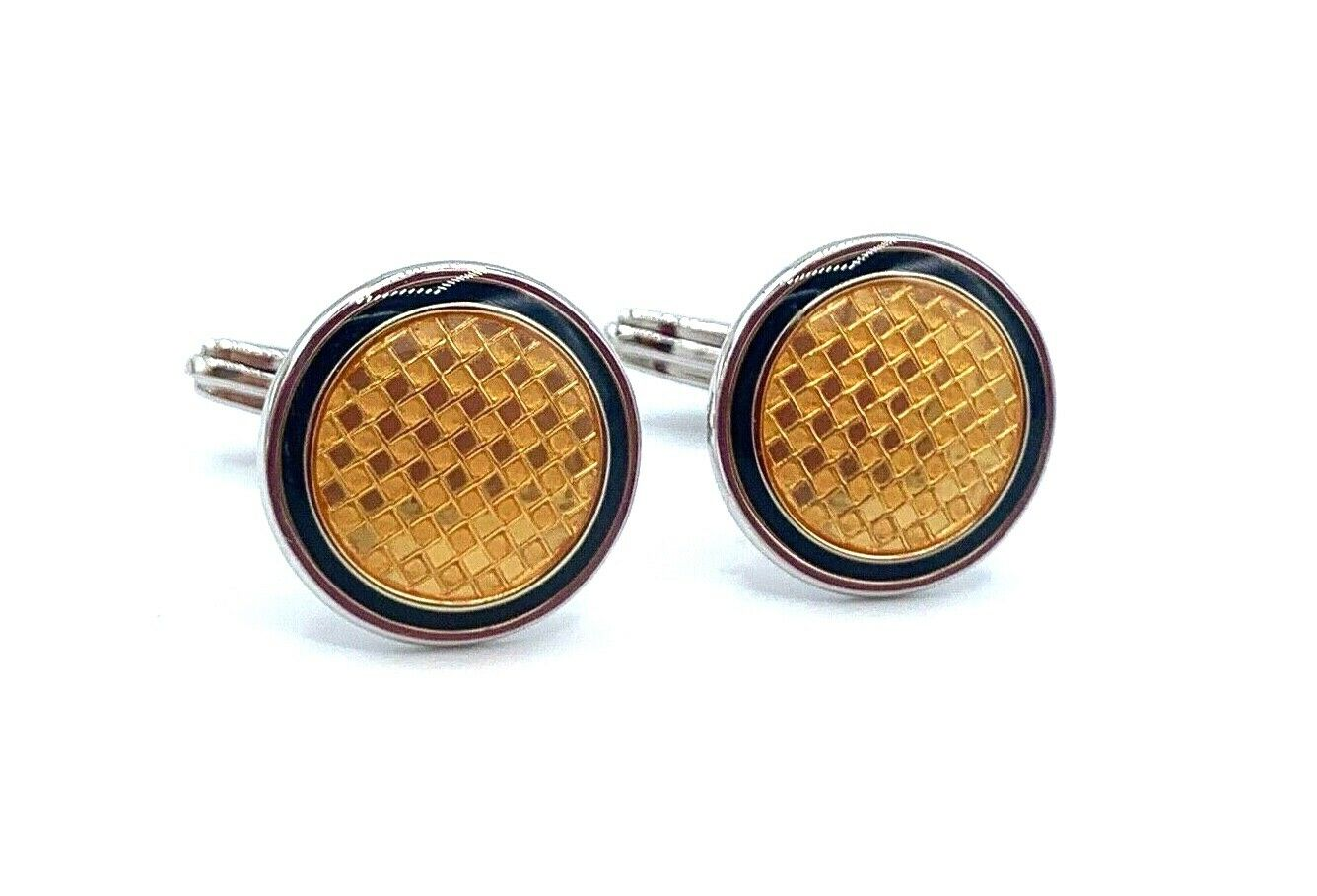Dunhill Yellow Checkered 925 Sterling Silver Mens Cufflinks Gift 123793285572 2