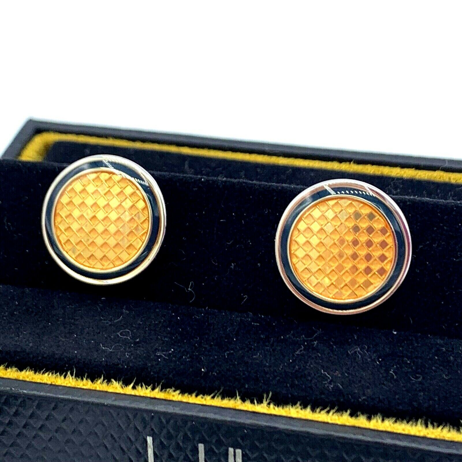 Dunhill Yellow Checkered 925 Sterling Silver Mens Cufflinks Gift 123793285572 5