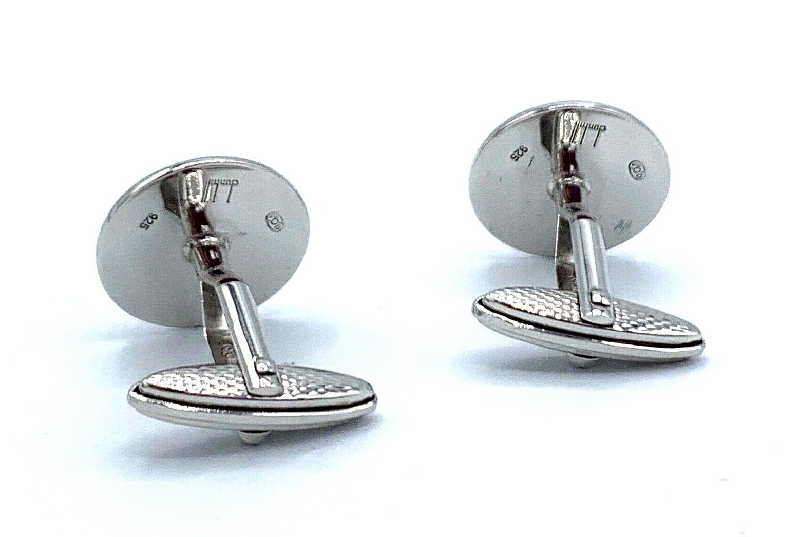 Dunhill Yellow Checkered 925 Sterling Silver Mens Cufflinks Gift 123793285572 8