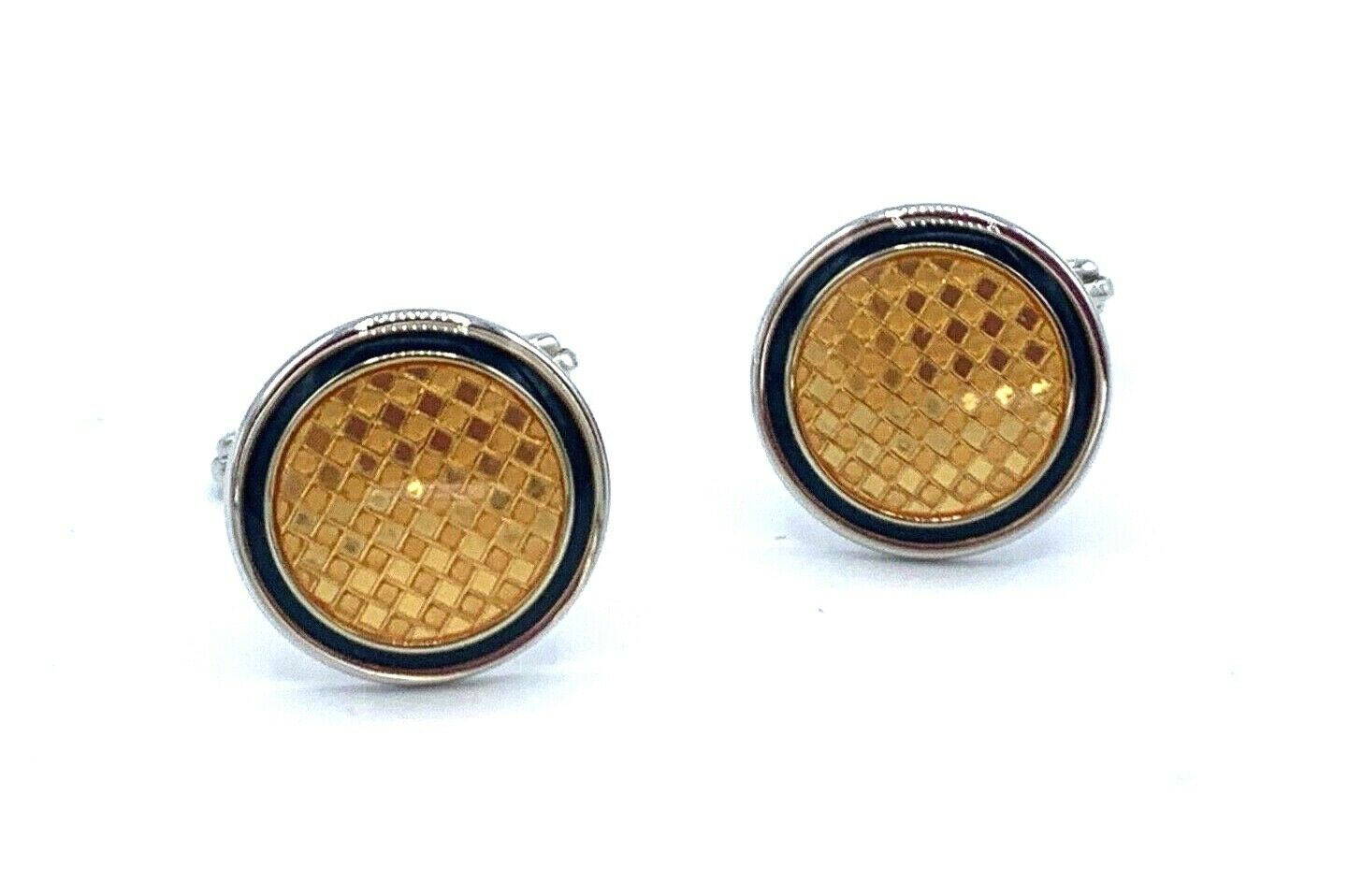Dunhill Yellow Checkered 925 Sterling Silver Mens Cufflinks Gift 123793285572
