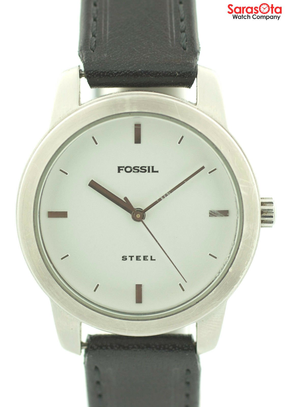 Fossil FS 2661 White Dial Stainless Steel Black Leather Quartz Womens Watch 121773030002 2