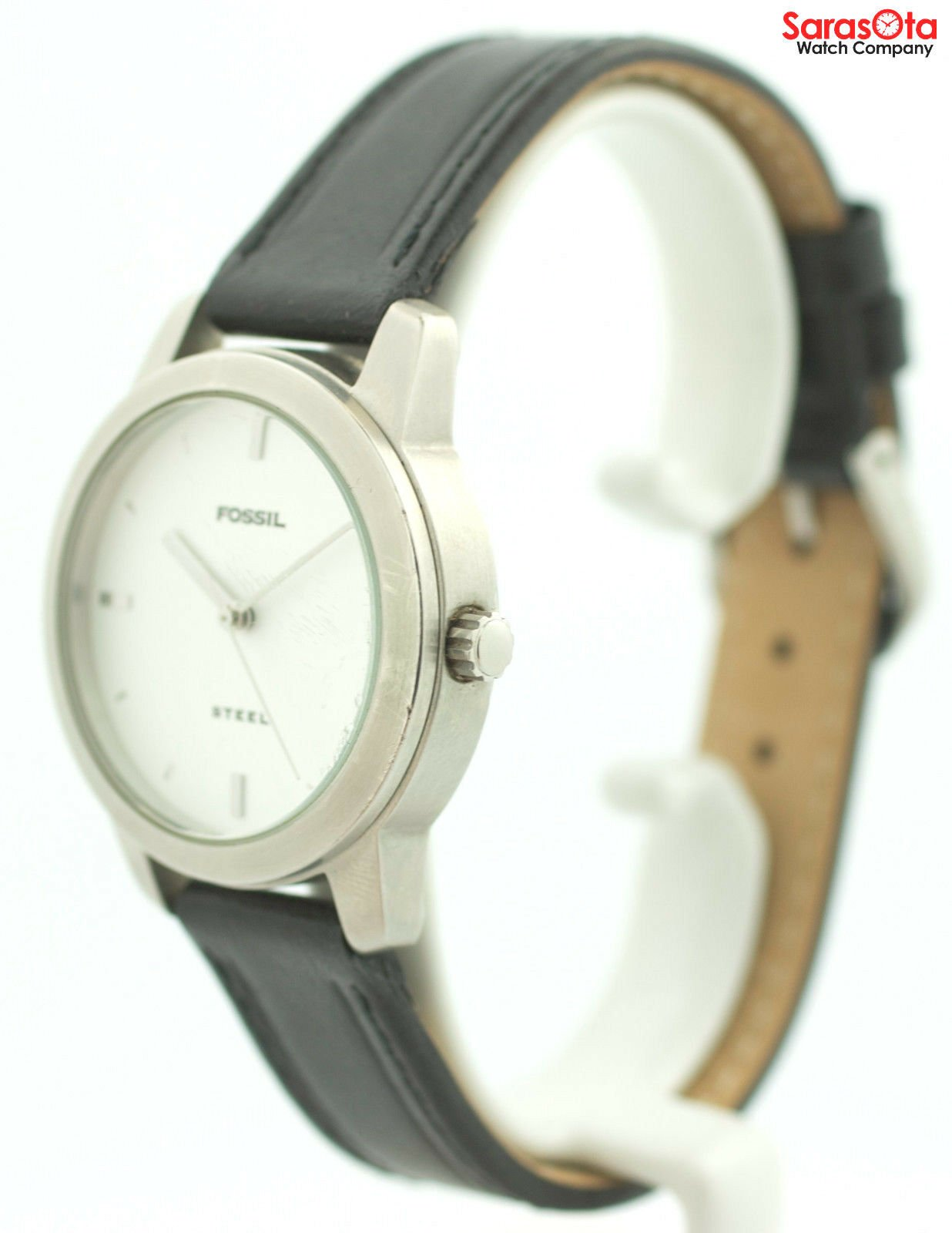 Fossil FS 2661 White Dial Stainless Steel Black Leather Quartz Womens Watch 121773030002 3