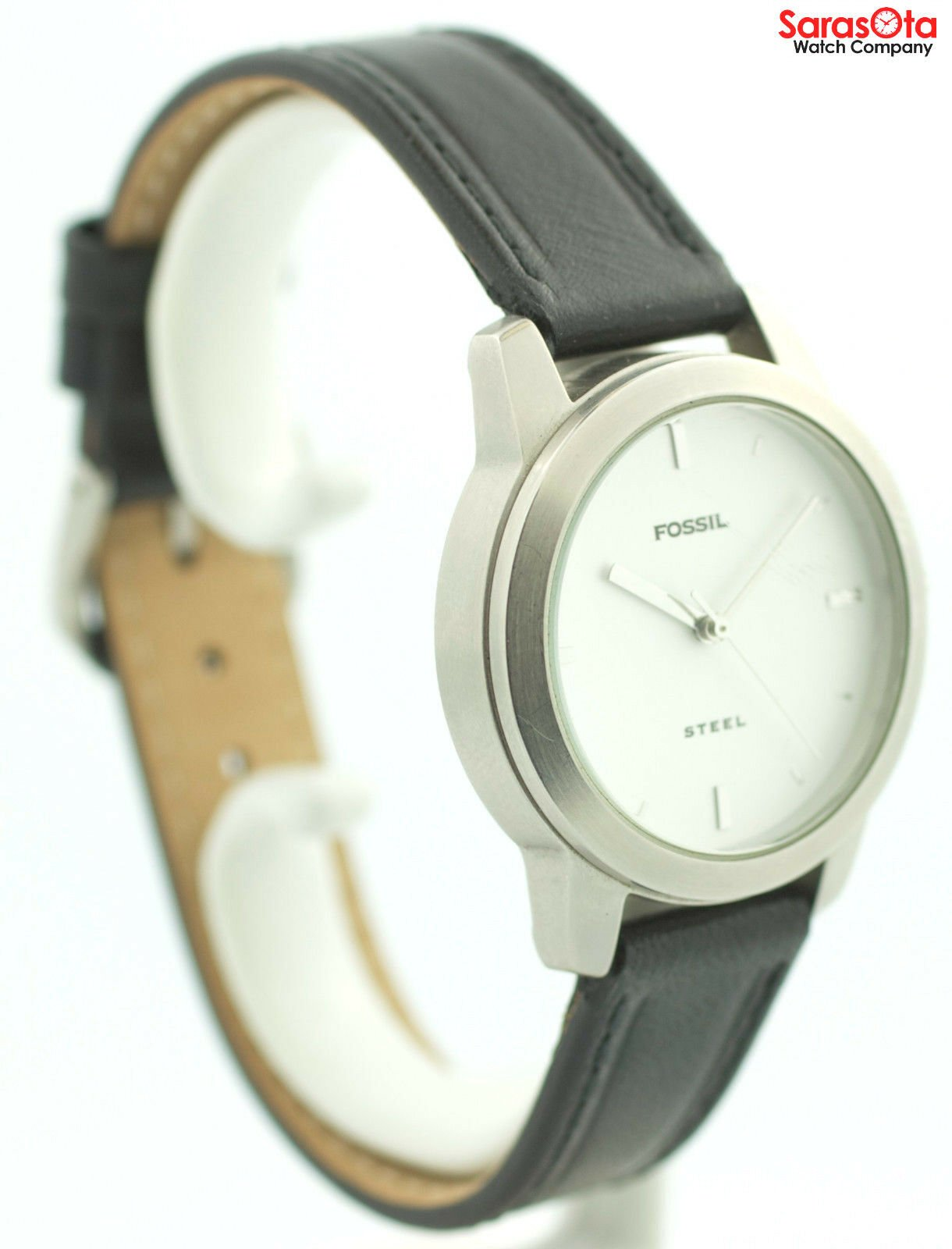 Fossil FS 2661 White Dial Stainless Steel Black Leather Quartz Womens Watch 121773030002 4