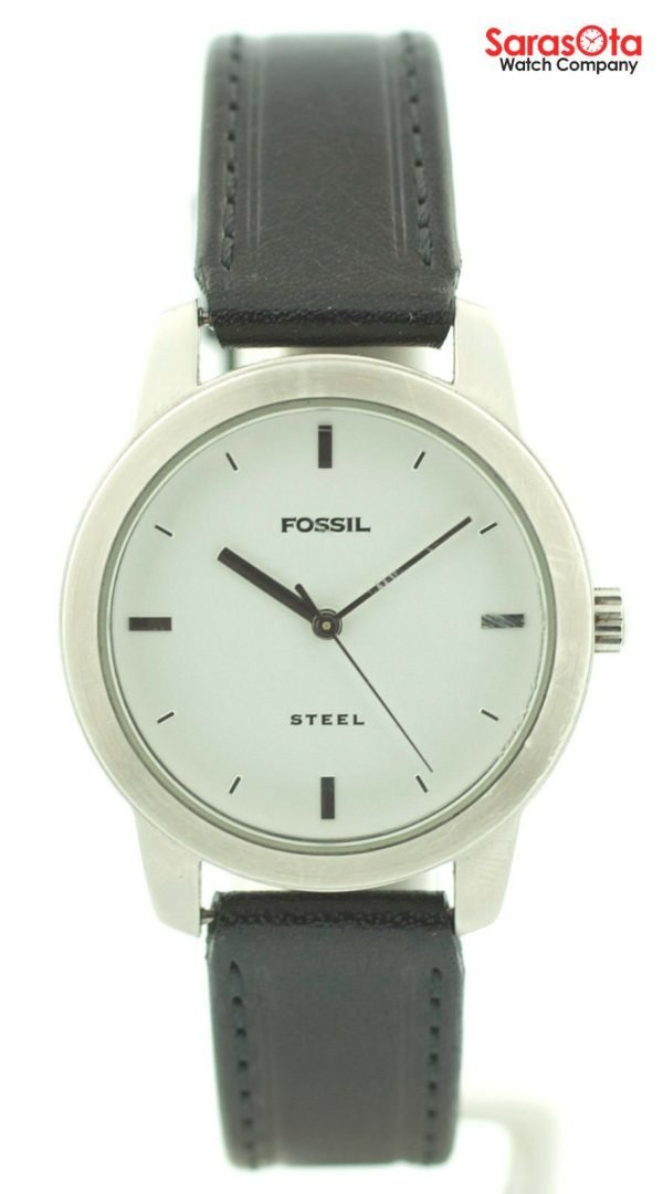 Fossil FS 2661 White Dial Stainless Steel Black Leather Quartz Womens Watch 121773030002