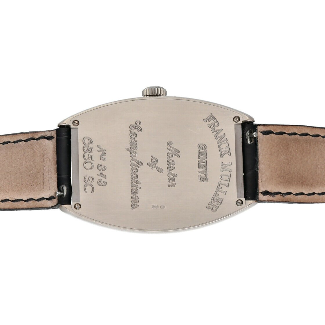 Franck Muller 6850 SC Cintree Curvex 18k White Gold Leather Automatic Mens Watch 124317748372 6