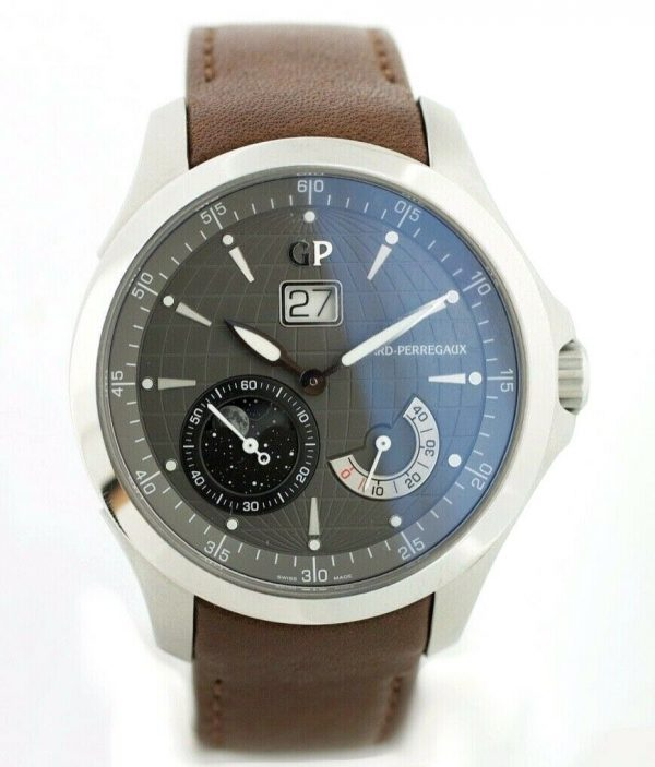 Girard Perregaux 49650 Traveller Large MoonPhases Leather Automatic Mens Watch 114155217402