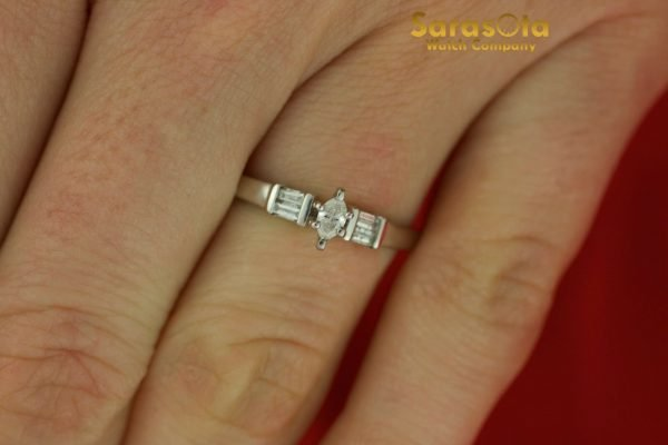 14K White Gold Approx 025 Ct Diamond Womens Ring Size 875 111826490623 5