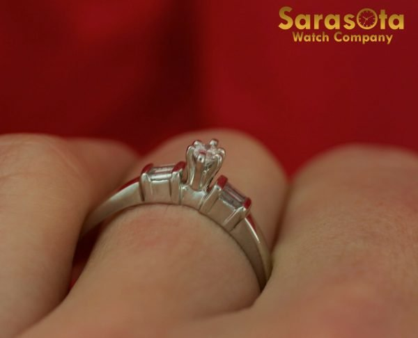 14K White Gold Approx 025 Ct Diamond Womens Ring Size 875 111826490623 6