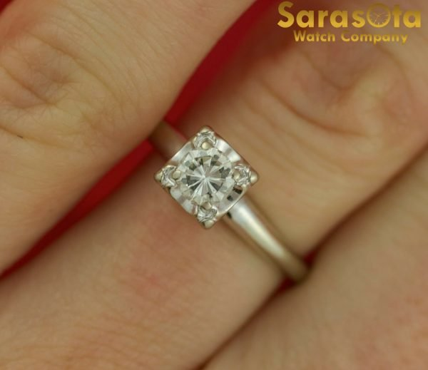 14K White Gold Approx 040 Ct Round Diamond Solitaire Womens Ring Size 75 121816713503 4