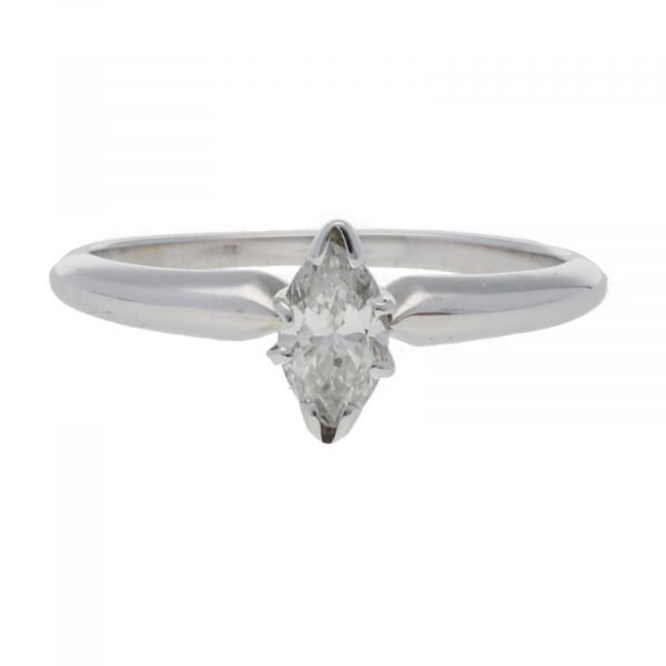 14k White Gold 035Ct Marquise Cut Single Stone Engagement Ring Size 55 124523952023 2