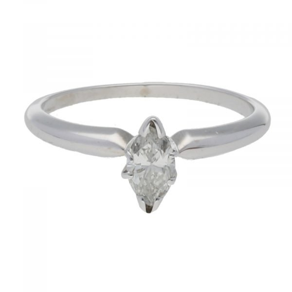 14k White Gold 035Ct Marquise Cut Single Stone Engagement Ring Size 55 124523952023 3