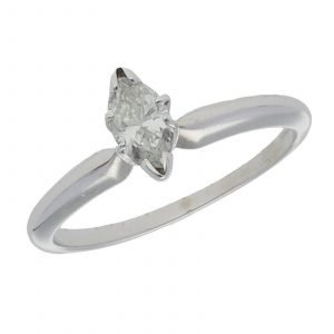 14k White Gold 035Ct Marquise Cut Single Stone Engagement Ring Size 55 124523952023